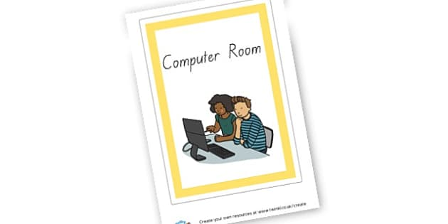 Computer Room Poster - ICT Area Primary Resources, signs, area, zones, banner, poster
