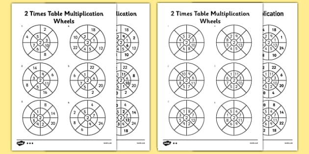 2 Times Table Wheels Activity Sheet Pack - multiply