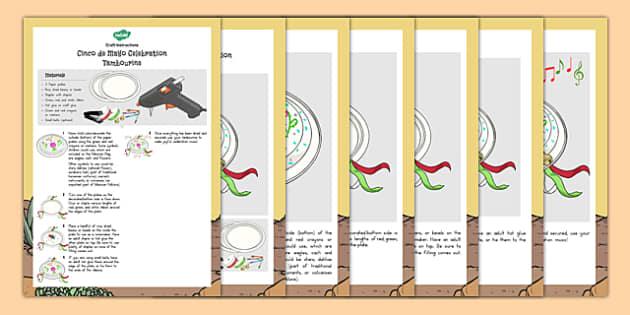 Cinco de Mayo Tambourine Craft - usa, america, cinco de mayo,
