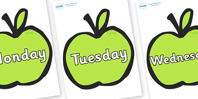 Days of the Week on Apples - Days of the Week, Weeks poster, week, display, poster, frieze, Days, Day, Monday, Tuesday, Wednesday, Thursday, Friday, Saturday, Sunday