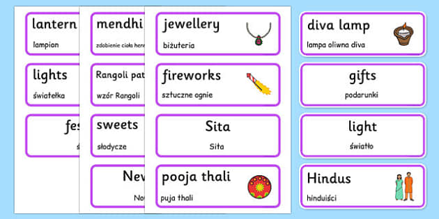 Diwali Topic Words Polish Translation - polish, Word cards, Word Card, flashcard, flashcards, Diwali, religion, hindu, hanoman, rangoli, sita, ravana, pooja thali, rama, lakshmi, golden deer, diva lamp, sweets, new year, mendhi, fireworks, party, foo