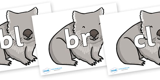 Initial Letter Blends on Wombat - Initial Letters, initial letter, letter blend, letter blends, consonant, consonants, digraph, trigraph, literacy, alphabet, letters, foundation stage literacy