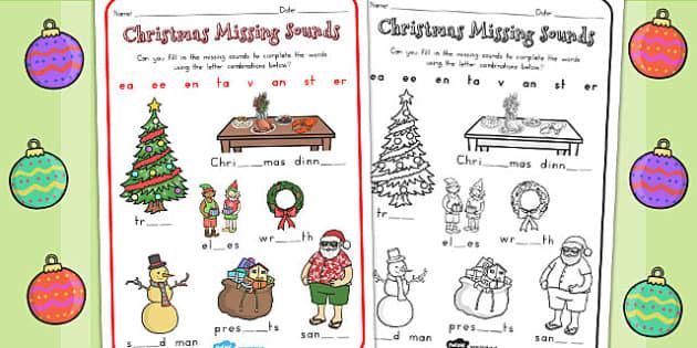 Christmas Missing Sounds Worksheet - australia, christmas, sounds