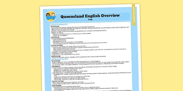 Queensland Curriculum Prep English Literacy Syllabus Overview - australia
