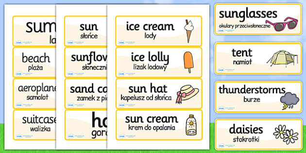 Polish Translation Summer Topic Word Cards - polish, word cards
