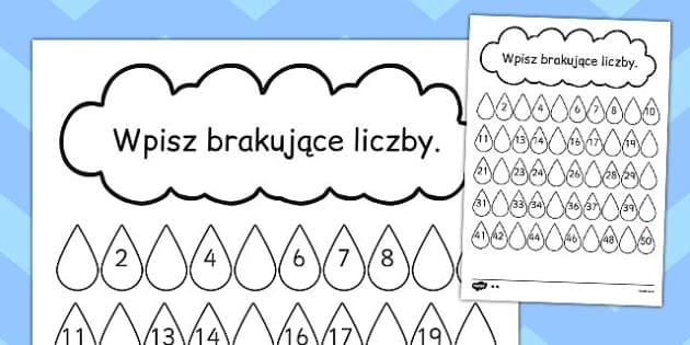 Brakujące liczby Kropelki deszczu po polsku - matematyka , Polish, worksheet