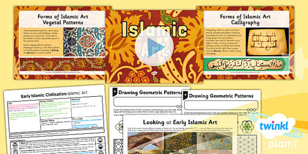 PlanIt - History UKS2 - Early Islamic Civilisation Lesson 5: Islamic Art Lesson Pack - arabesque, geometric, calligraphy, vegetal, Islam
