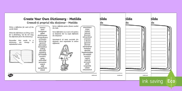 Matilda Key Vocabulary Create Your Own Dictionary English/Romanian