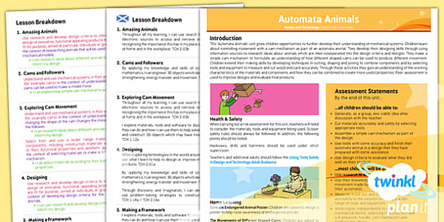 PlanIt - Design and Technology UKS2 - Automata Animals Planning Overview CfE - Planit, CfE, mechanical models, animals, mechanisms, automata, design