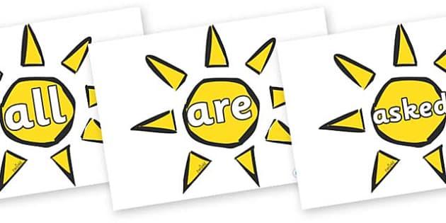 Tricky Words on Weather Symbols (Sun) - Tricky words, DfES Letters and Sounds, Letters and sounds, display, words