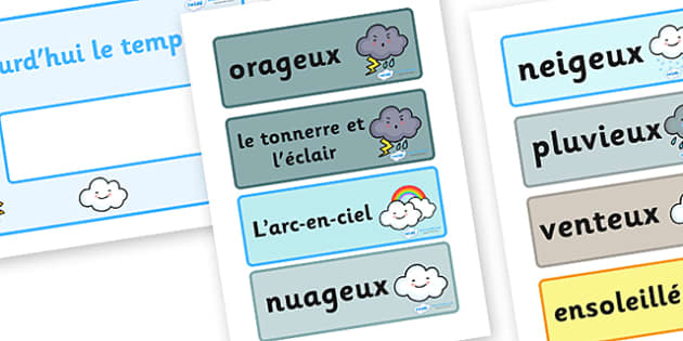 Weather Display Cards - Weather, display cards, card, flashcards, weather chart, rain, sun, snow, fog, cloud, warm, cold
