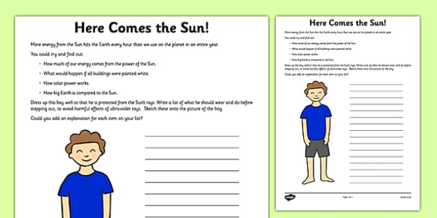 Here Comes the Sun Activity Sheet - sun, safe, safety, here comes the sun, activity, worksheet