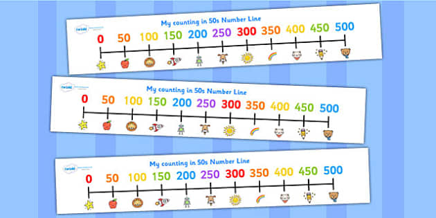 Counting In 50s Number Line - count, counting aid, math, numeracy