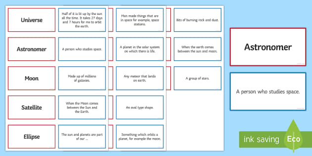 Space Pairs Glossary Activity - Glossary, space, earth, planets, astronomer, eclipse