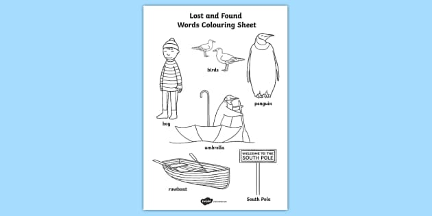 Words Colouring Sheet to Support Teaching on Lost and Found - colouring, colours, colour