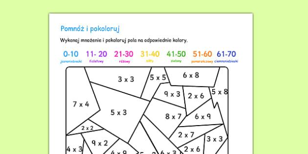 Pomnóż i pokoloruj po polsku - matematyka, mnożenie