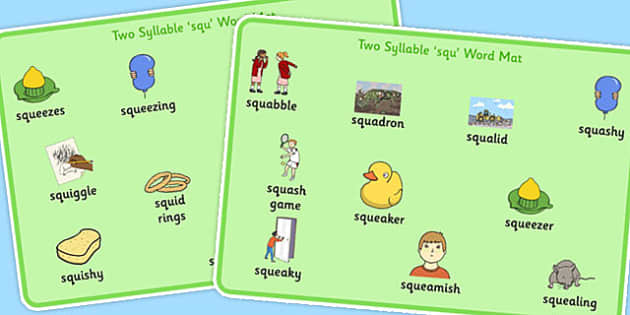Two Syllable SQU Word Mats - speech sounds, phonology, articulation, speech therapy, cluster reduction, complex clusters, three element clusters