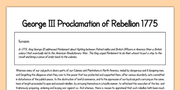George III Proclamation of Rebellion 1775 Print Out - george iii, proclamation of rebellion, 1775, print out
