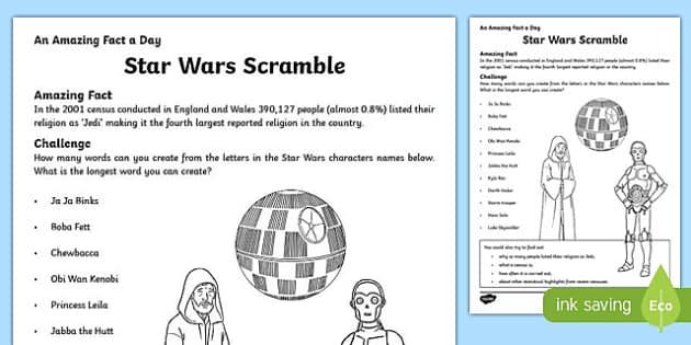 Star Wars Scramble Activity Sheet, worksheet