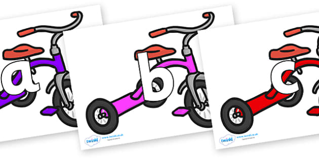 Phoneme Set on Trikes - Phoneme set, phonemes, phoneme, Letters and Sounds, DfES, display, Phase 1, Phase 2, Phase 3, Phase 5, Foundation, Literacy