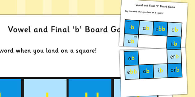Vowel and Final 'B' Sound Board Game - final b, sound, game