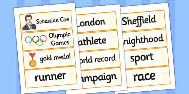 Sebastian Coe Word Cards - sebastian coe, word cards, topic cards, themed word cards, themed topic cards, key words, key word cards, keyword, writing aid