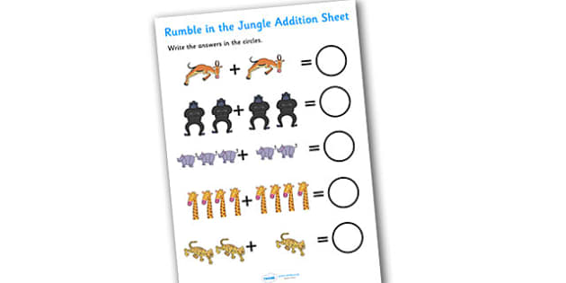 Addition Sheet to Support Teaching on Rumble in the Jungle - rumble in the jungle, addition sheet, addition, rumble in the jungle addition sheet, worksheet