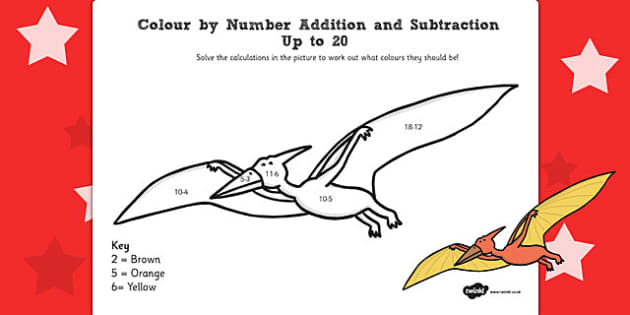Dinosaurs Colour by Number Addition and Subtraction Up to 20