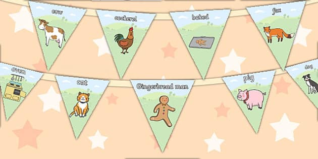 The Gingerbread Man Bunting - bunting, display, gingerbread man
