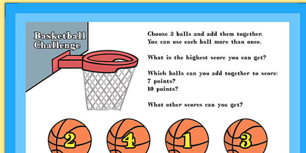 A4 KS1 Basketball Maths Challenge Poster - maths, challenge, ks1