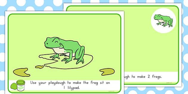 Basic Counting Frogs Playdough Mats - australia, basic, counting, frogs, playdough