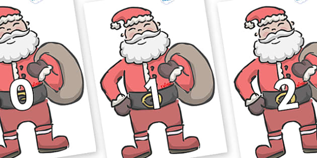 Numbers 0-100 on Santas - 0-100, foundation stage numeracy, Number recognition, Number flashcards, counting, number frieze, Display numbers, number posters