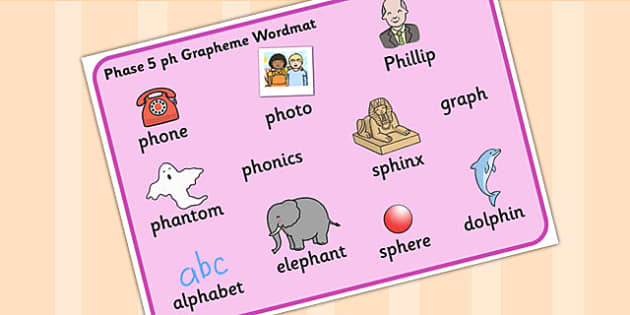 Phase 5 ph Grapheme Word Mat - phase five, graphemes, literacy