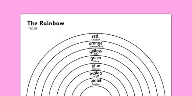 The Rainbow Colours Colouring Sheet Polish Translation - polish, rainbow, colours, colouring, sheet