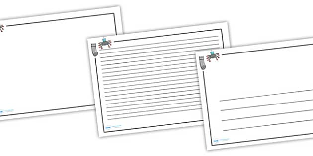 Incy Wincy Spider Page Borders (Lanscape) - page border, border, frame, writing frame, writing template, incy wincy spider, incy wincy spider page borders, incy wincy spider landscape page borders, nursery rhyme page borders, writing aid, writing, A4