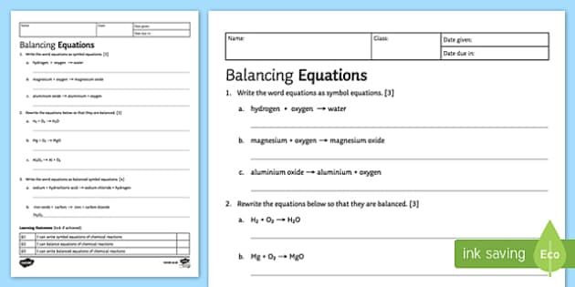 KS3 Balancing Equations Homework Activity Sheet