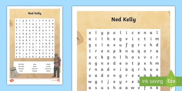 Ned Kelly Word Search - Bushrangers, Ned Kelly, Kelly Gang, Australian History, outlaw, outlaws, criminal,Australia