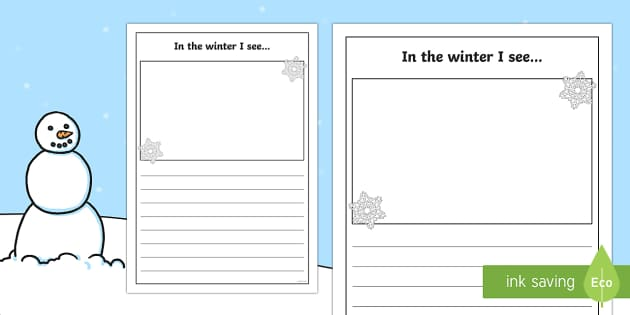 In the Winter I See Writing Frame - in the winter, winter, seasons, writing frame, writing template, writing guide, writing aid, line guide, writing guide