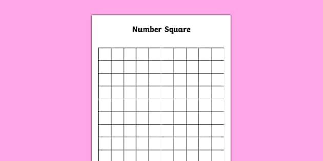 Blank 10 by 10 Number Square - blank, 10 by 10, number square, numbers, editable