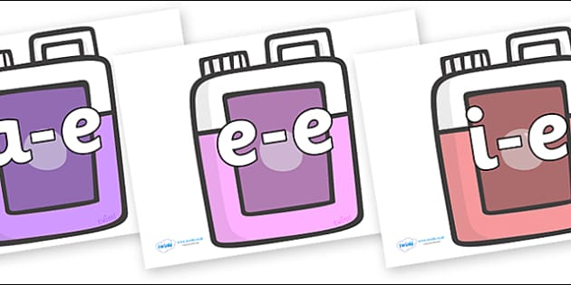 Modifying E Letters on Bottles - Modifying E, letters, modify, Phase 5, Phase five, alternative spellings for phonemes, DfES letters and Sounds