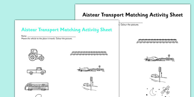 Aistear Transport and Places Matching Activity Sheet - roi, irish, republic of ireland, aistear, transport, worksheet