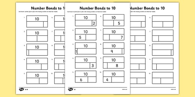 Bar Modelling Number Bonds to 10 Differentiated Activity Sheet – Number Bonds to 10 Worksheet