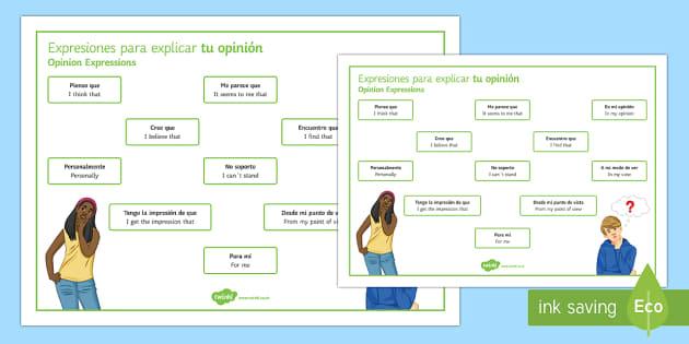 Opinion Phrases Word Mat Spanish - spanish, opinion phrases, word mat, word, mat, opinion, phrase