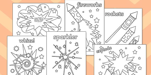 Fireworks / Bonfire Night Colouring Sheets - education, free, fun
