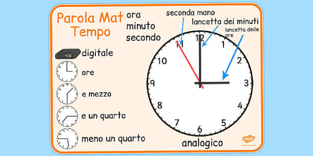 Italian Time Word Mat - italian, time word mat, word mat, time