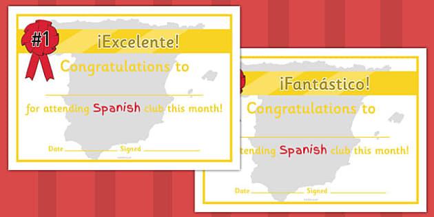 Spanish Club Certificates - spanish club, certificates, spanish club certificates, club certificates, language certificates, language club