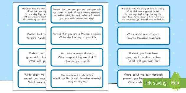 Hanukkah Writing Prompts - Winter, hanukkah, writing, prompt, display, judaism