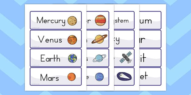 Space Word Cards - australia, space, word cards, cards, word