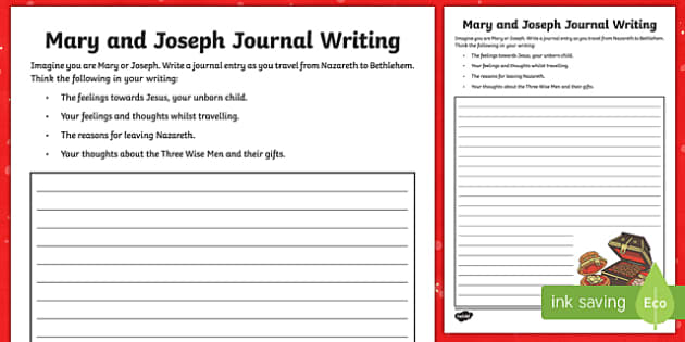 Mary and Joseph Journal Writing Activity Sheet-Australia