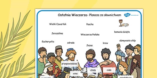 Plansza ze słownictwem Ostatnia Wieczerza po polsku - wielkanoc